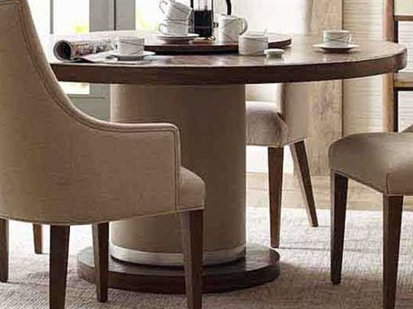 Theodore Alexander Mangrove Primavera with Overcast White Leather & Brushed Stainless Steel 60'' Wide Round Dining Table