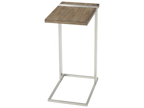 Theodore Alexander Mangrove Primavera & Brushed Stainless Steel 10'' Wide Rectangular End Table TALTAS50009C079