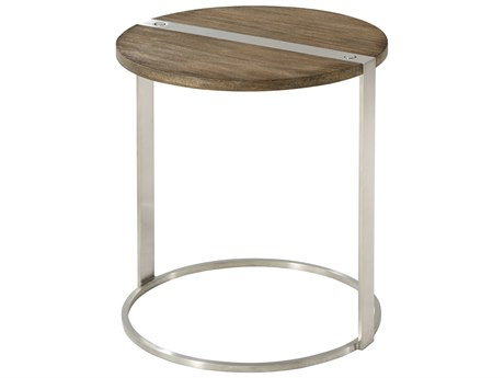 Theodore Alexander Mangrove Primavera & Brushed Stainless Steel 17'' Wide Round End Table