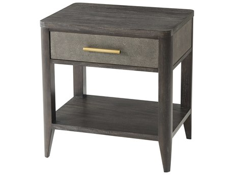 Theodore Alexander Rowan Primavera with Tempest Grey Leather & Brushed Brass 23'' Wide Rectangular End Table
