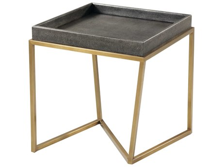 Theodore Alexander Rowan Primavera with Tempest Grey Leather & Brushed Brass 21'' Wide Square End Table TALTAS50018C078
