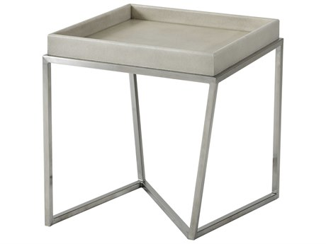 Theodore Alexander Mangrove Primavera with Overcast White Leather & Brushed Stainless Steel 21'' Wide Square End Table TALTAS50018C079
