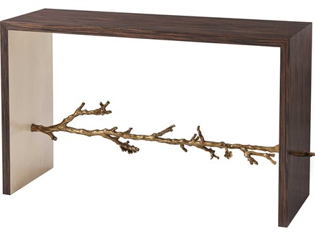 Theodore Alexander Simulated Ebony Veneer / Fiddle Back Sycamore Brass 52'' Wide Rectangular Console Table