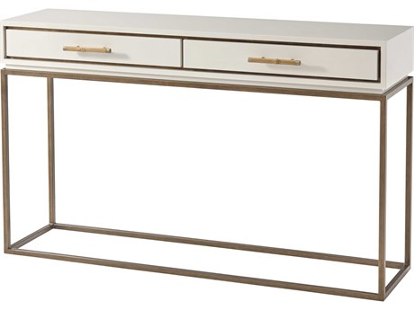 Theodore Alexander White Lacquer / Pyrite Gold Brass 56'' Wide Rectangular Console Table