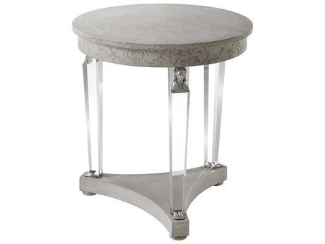 Theodore Alexander Tamo Ash Veneer / Acrylic Stainless Steel 26'' Wide Round End Table TALAC50010