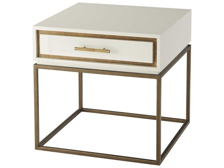 Theodore Alexander White Lacquer / Pyrite Gold Steel 26'' Wide Square End Table