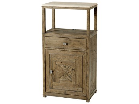 Theodore Alexander Honed Travertine / Echo Oak Tolliver Accent Cabinet TALCB61028C062