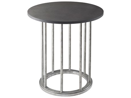 Theodore Alexander Leather / Aluminum 24'' Wide Round End Table