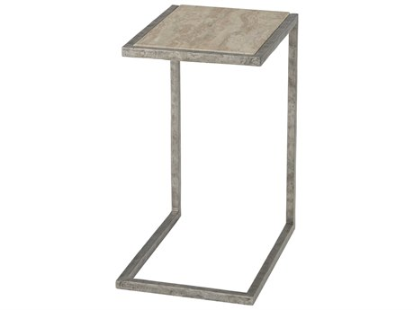 Theodore Alexander Aluminum / Travertine 12'' Wide Rectangular End Table