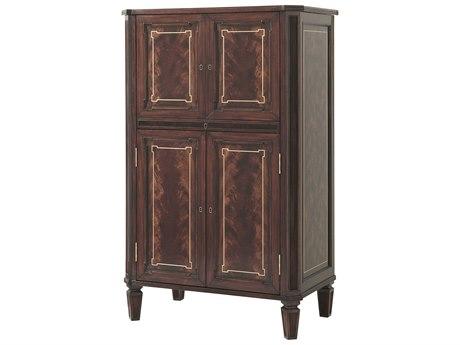 Theodore Alexander Flame Figured Veneer / Mahogany Marble Bar Cabinet TAL6105463