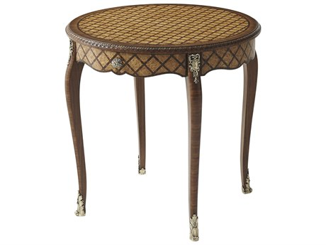 Theodore Alexander Yew Burl / Morado Parquetry 27'' Wide Round End Table