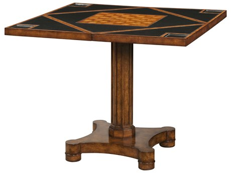 Theodore Alexander Walnut Burl Veneer / Cherry Leather Game Table TAL5205096MT