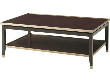 Theodore Alexander Acacia Veneer / Mahogany Brass 48'' Wide Rectangular Coffee Table