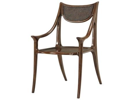 Theodore Alexander Mahogany / Cane Arm Dining Chair