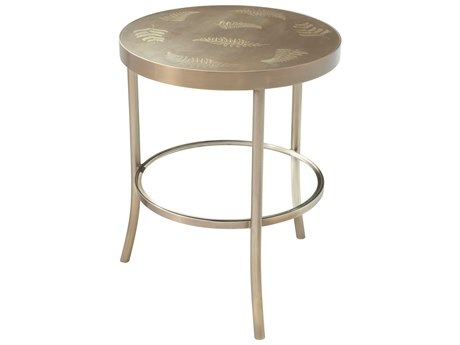 Theodore Alexander Etched Brass / Tempered Glass 20'' Wide Round End Table