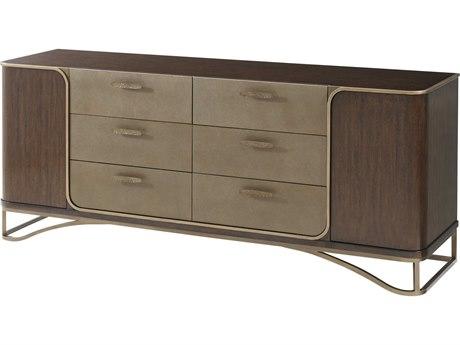 Theodore Alexander Walnut Veneer / Steel Leather Double Dresser