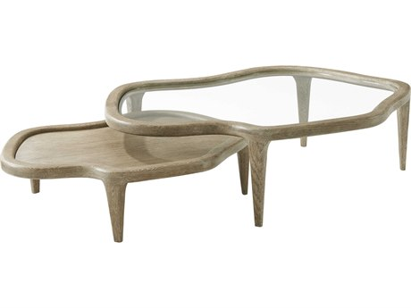 Theodore Alexander Oak / Veneer Glass 48'' Wide Coffee Table Nesting TALMB51009