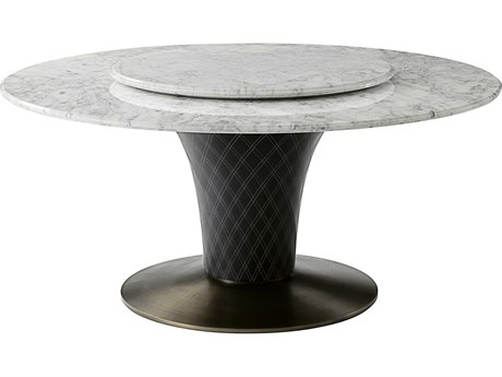 Theodore Alexander Marble / Stainless Steel Leather 65'' Wide Round Dining Table TALSLD540010AOD