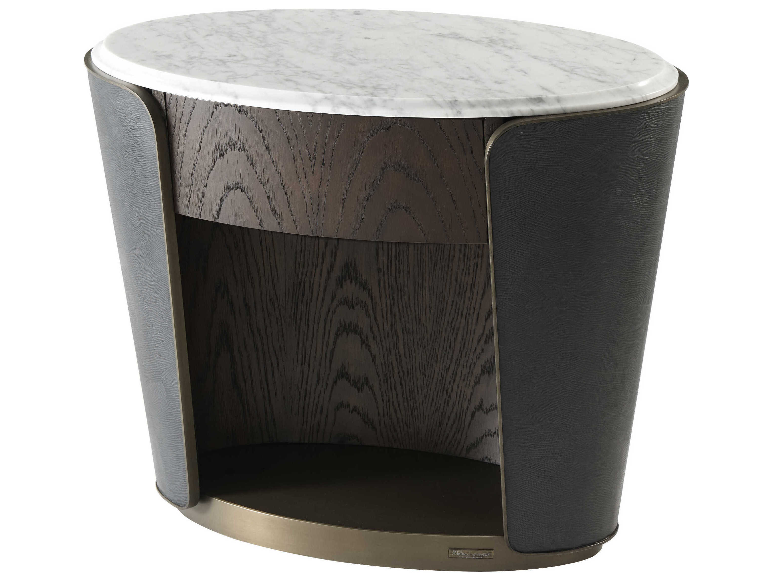 Theodore Alexander Oak Veneer Marble Leather Oval No Drawers Nightstand