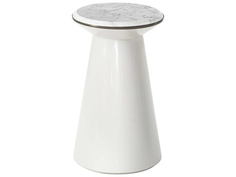 Theodore Alexander Pure Pearl Marble / Heritage Bronze Rare Champagne 13'' Wide Round Pedestal Table