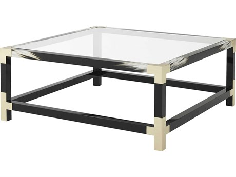 Theodore Alexander Tempered Glass / Black Lacquered Faux Horn / Brushed Brass 44'' Wide Square Coffee Table