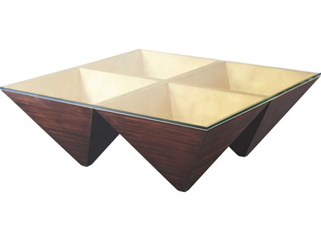 Theodore Alexander Tempered Glass / Hand Leafed Gilt Mahogany 46'' Wide Square Coffee Table TAL5102066