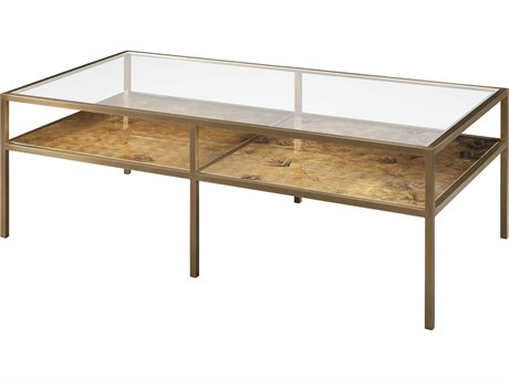 Theodore Alexander Tempered Glass / Brass Golden Yellow Painted Lacquer 52'' Wide Rectangular Coffee Table