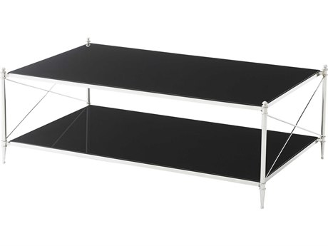 Theodore Alexander Black Glass / Stainless Steel 54'' Wide Rectangular Coffee Table