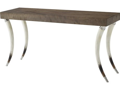 Theodore Alexander Platinum Sycamore / Faux Horn Stainless Steel 63'' Wide Rectangular Console Table