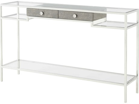 Theodore Alexander Tempered Glass / Grey Blue Mottled Eggshell Stainless Steel 60'' Wide Rectangular Console Table