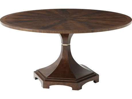 Theodore Alexander Flame Walnut Veneer / Leather 60'' Wide Round Dining Table