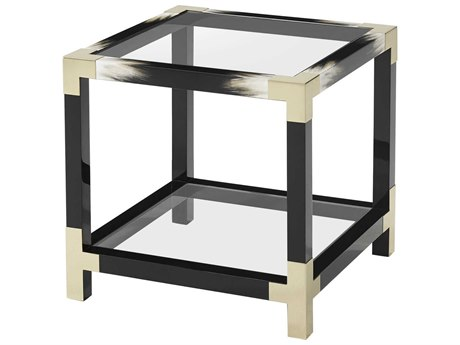 Theodore Alexander Glass / Black Lacquered Faux Horn 25'' Wide Square End Table