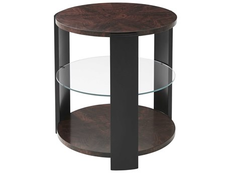 Theodore Alexander Flame Walnut Veneer 26'' Wide Round End Table