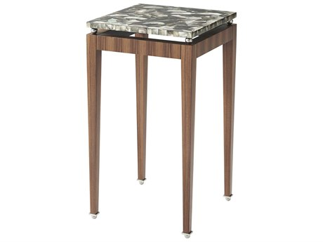 Theodore Alexander Morado Veneer / Stainless Steel Mother of Pearl 15'' Wide Square End Table