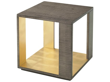 Theodore Alexander Platinum Sycamore / Burnished Gold Leaf 17'' Wide Square End Table