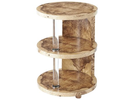 Theodore Alexander Olive Ash Burl Veneer / Glass Stainless Steel 18'' Wide Round End Table