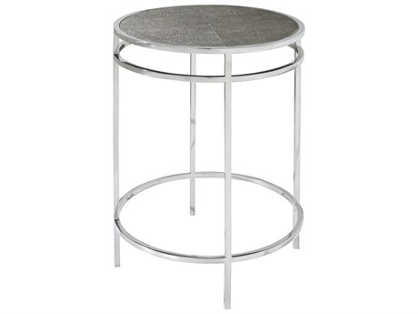 Theodore Alexander Pistachio Faux Shagreen / Stainless Steel 16'' Wide Round End Table TAL5029058