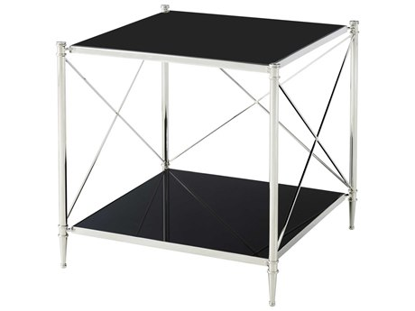 Theodore Alexander Stainless Steel / Black Glass 25'' Wide Square End Table