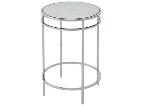 Theodore Alexander Silvered Vintage / Polished Stainless Steel 16'' Wide Round End Table