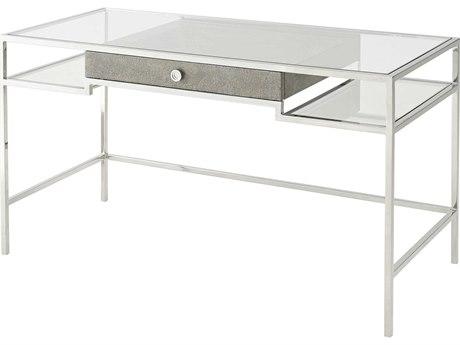 Theodore Alexander Stainless Steel / Eggshell Glass Secretary Desk