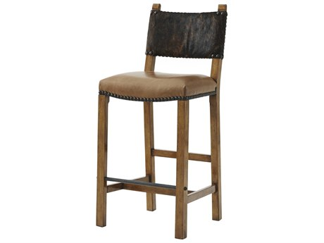 Theodore Alexander Beech / Hair on Hide Side Bar Height Stool