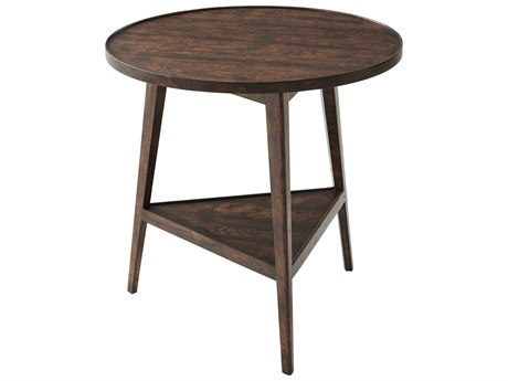 Theodore Alexander Mahogany / Reclaimed Oak Veneer 26'' Wide Round End Table TALAL50157