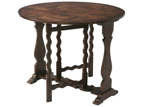 Theodore Alexander Oak Veneer / Chestnut Burl Mahogany 37'' Wide Round Foyer Table TALAL50154