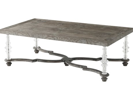 Theodore Alexander Aged Oak / Acrylic Cloudy Bay 54'' Wide Rectangular Coffee Table TAL5105416