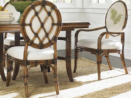 Tommy Bahama Bali Hai 20.5'' Gulfstream Quick Ship Oval Back Side Chair (Twin Palms Pattern) TO59388002