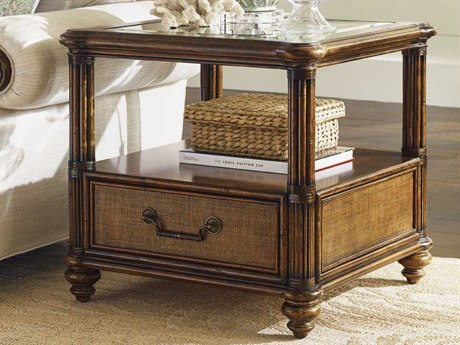 Tommy Bahama Bali Hai Wood/Bamboo Bimini 26 Square End Table TO593955