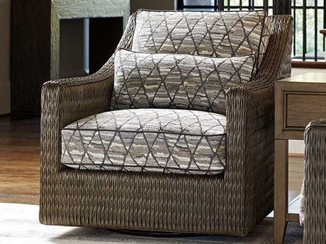 Tommy Bahama Cypress Point Hayes Loose Back Rattan Swivel Chair (Custom Upholstery) TO747011SW