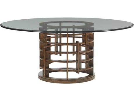 Tommy Bahama Island Fusion 60'' Round Meridien Sebana Glass Top Dining Table TO556875G