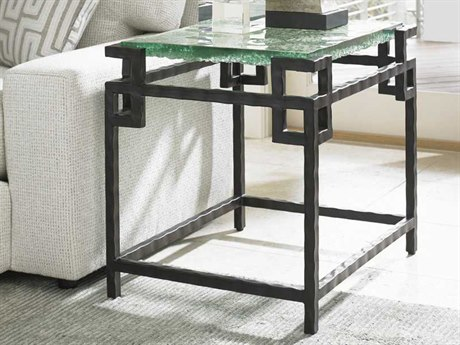 Tommy Bahama Island Fusion 21.25 x 27.25 Rectangular Hermes Reef Glass Top Sebana End Table