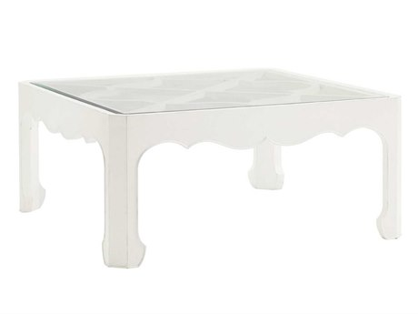 Tommy Bahama Ivory Key Cassava 42 Square Cocktail Table With Glass Insert TO010543947